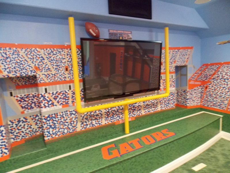 Florida gators theme home theater room theme room design for How to build a florida room