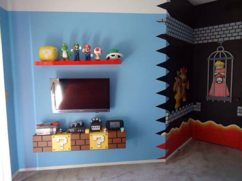 Super mario bros theme bedroom theme room design for All room decoration games