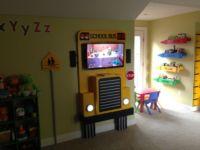 School Bus TV Shelf with Working Headlights
